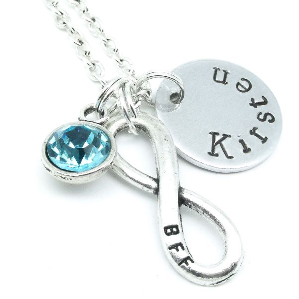 BBF best friends infinity name necklace gift personalised birthstone